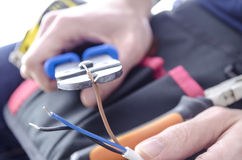 Τέμνοντα ηλεκτρικά καλώδια Στοκ Φωτογραφία