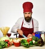 Τέμνοντα λαχανικά ατόμων αρχιμαγείρων για τη σαλάτα Μάγειρας κόκκινο σε ομοιόμορφο Στοκ Εικόνες