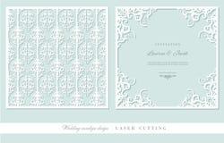 Τέμνοντα πλαίσιο λέιζερ και damask σύνολο επιτροπής Τετραγωνικό filigree σχέδιο φακέλων διακοπής πίσω μέτωπο Μπλε και λευκό κρητι διανυσματική απεικόνιση