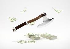 Τέμνοντα χρήματα τσεκουριών Στοκ Εικόνες