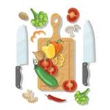 Τέμνοντες πίνακας και λαχανικά που μαγειρεύουν την αφίσα καρτών διανυσματική απεικόνιση