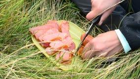 Τέμνον ζαμπόν στις φέτες υπαίθρια το καλοκαίρι κατά τη διάρκεια ενός πεζοπορώ στη φύση φιλμ μικρού μήκους