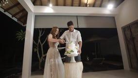 Τέμνον κομμάτι νυφών και νεόνυμφων του γαμήλιου κέικ στο κόμμα εορτασμού απόθεμα βίντεο