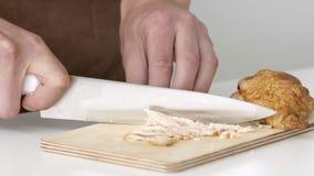 Τέμνον κρέας για την πλήρωση των τηγανιτών σε σε αργή κίνηση απόθεμα βίντεο