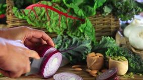 Τέμνον κόκκινο κρεμμύδι απόθεμα βίντεο