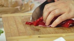 Τέμνον κόκκινο πιπέρι απόθεμα βίντεο