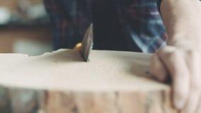 Τέμνον ξύλο ξυλουργών με Handsaw στο εργαστήριο φιλμ μικρού μήκους
