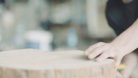 Τέμνον ξύλο ξυλουργών με Handsaw στο εργαστήριο απόθεμα βίντεο