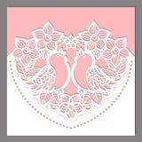 Τέμνον πρότυπο λέιζερ Καρδιά των λουλουδιών με τα πουλιά απεικόνιση αποθεμάτων