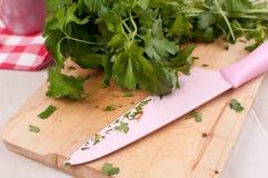 Τέμνον χαρτόνι με τον τεμαχισμό μαχαιριών και μαϊντανού στοκ φωτογραφία με δικαίωμα ελεύθερης χρήσης
