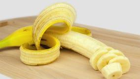 Τέμνον χρόνος-σφάλμα κινηματογραφήσεων σε πρώτο πλάνο μπανανών απόθεμα βίντεο