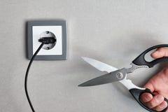 Τέμνουσα έννοια ηλεκτρικής ενέργειας Στοκ Εικόνες