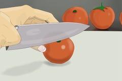 Τέμνουσα ντομάτα χεριών Στοκ Εικόνα