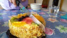 Τέμνουσα φέτα κέικ Στοκ Εικόνα