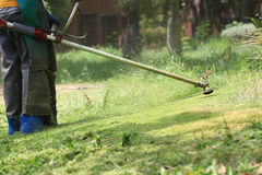 Τέμνουσα χλόη εργαζομένων θεριστών χορτοταπήτων στον πράσινο τομέα στοκ εικόνα