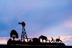 Τέξας σε ένα πλαίσιο στο ηλιοβασίλεμα στοκ εικόνες