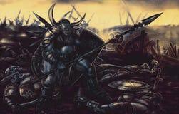Τέρας ιπποτών που οπλίζεται με τη λόγχη διανυσματική απεικόνιση