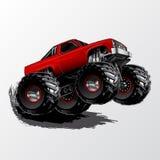 Τέρας-φορτηγό-Wheelie-κόκκινο Απεικόνιση αποθεμάτων