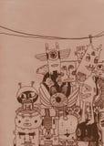τέρατα ανασκόπησης doodle Στοκ εικόνα με δικαίωμα ελεύθερης χρήσης