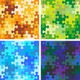 Τέσσερα άνευ ραφής σχέδια γρίφων τορνευτικών πριονιών με τα whimsically διαμορφωμένα κομμάτια ελεύθερη απεικόνιση δικαιώματος