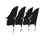 Τέσσερα άτομα αντιμετωπίζουν τη σκιαγραφία Στοκ Εικόνες