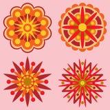 Τέσσερα αναδρομικά στοιχεία σχεδίου λουλουδιών Στοκ Εικόνες