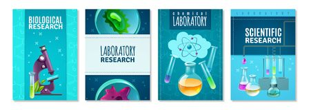 Τέσσερα απομονωμένα επιστήμη εμβλήματα διανυσματική απεικόνιση