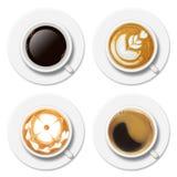 Τέσσερα διαφορετικά φλυτζάνια καφέ στη τοπ άποψη Στοκ εικόνες με δικαίωμα ελεύθερης χρήσης