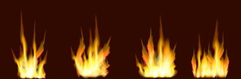 Τέσσερα είδη ξύλινης πυρκαγιάς φλογών σε ένα καφετί υπόβαθρο διανυσματική απεικόνιση