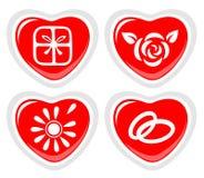 τέσσερα εικονίδια καρδι ελεύθερη απεικόνιση δικαιώματος