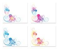Τέσσερα εμβλήματα με τη σύνθεση δίνης Στοκ εικόνα με δικαίωμα ελεύθερης χρήσης