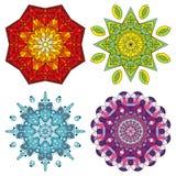 Τέσσερα ζωηρόχρωμα mandalas Στοκ εικόνα με δικαίωμα ελεύθερης χρήσης