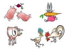Τέσσερα ζώα καθορισμένα Στοκ εικόνα με δικαίωμα ελεύθερης χρήσης