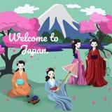 Τέσσερα ιαπωνικά κορίτσια στην εθνική διανυσματική εικόνα κοστουμιών διανυσματική απεικόνιση
