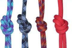 Τέσσερα διαφορετικά σχοινιά με τους κόμβους Στοκ φωτογραφία με δικαίωμα ελεύθερης χρήσης