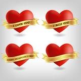 Τέσσερα καρδιές και εμβλήματα Στοκ εικόνα με δικαίωμα ελεύθερης χρήσης