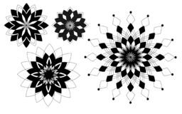 Τέσσερα μαύρα γεωμετρικά λουλούδια σχεδίων ελεύθερη απεικόνιση δικαιώματος