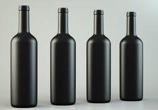 Τέσσερα μπουκάλια κρασιού διανυσματική απεικόνιση
