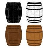 Τέσσερα ξύλινα βαρέλια διανύσματος Στοκ Εικόνες