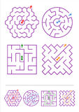 Τέσσερα παιχνίδια λαβυρίνθου με τις απαντήσεις Στοκ Φωτογραφία