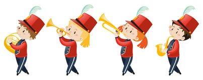 Τέσσερα παιδιά που παίζουν τη μουσική στη σχολική ζώνη διανυσματική απεικόνιση