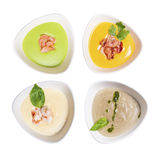 Τέσσερα πιάτα της σούπας Στοκ Εικόνες