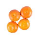 τέσσερα πορτοκάλια που απομονώνονται στο λευκό Στοκ φωτογραφία με δικαίωμα ελεύθερης χρήσης