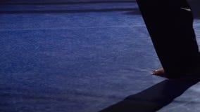 Τέσσερα πόδια στο δαχτυλίδι στο σκοτάδι κίνηση αργή κλείστε επάνω απόθεμα βίντεο