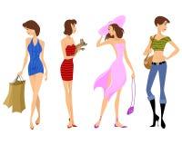 Τέσσερα σύγχρονα κορίτσια Διανυσματική απεικόνιση