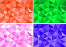 Τέσσερα σύνολα αφηρημένου ζωηρόχρωμου χαμηλού πολυ υποβάθρου Στοκ εικόνα με δικαίωμα ελεύθερης χρήσης