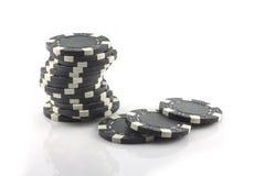 Τέσσερα τσιπ πόκερ που απομονώνονται στο άσπρο υπόβαθρο Στοκ Εικόνα