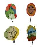 Τέσσερα τυποποιημένα χρωματισμένα δέντρα Στοκ Φωτογραφίες