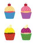 Τέσσερα φωτεινά ζωηρά νόστιμα cupcakes Στοκ φωτογραφία με δικαίωμα ελεύθερης χρήσης