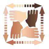 τέσσερα χέρια από κοινού Στοκ Εικόνα